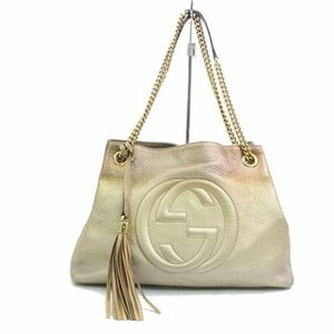 Gucci Ombre Gold Leather Soho Chain Tote 870595